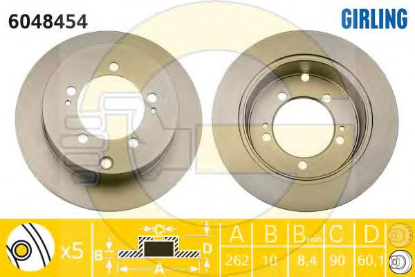 6048454 Диск тормозной MITSUBISHI LANCER 00/OUTLANDER 0308 (R14) задний