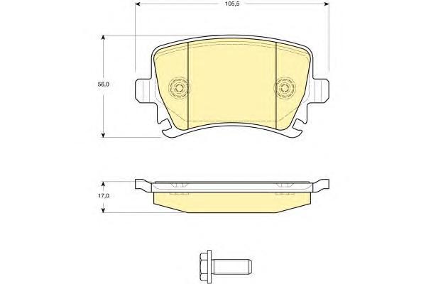 6116221 Колодки тормозные VOLKSWAGEN TOURAN 03/CADDY/G5/G6 задние