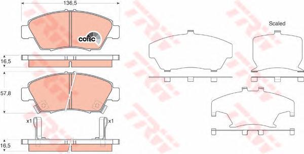 GDB3375 Колодки тормозные HONDA CIVIC 91-05 передние
