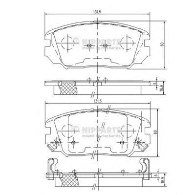 N3600543 Колодки тормозные HYUNDAI SONATA V(NF)/KIA OPIRUS 05- передние