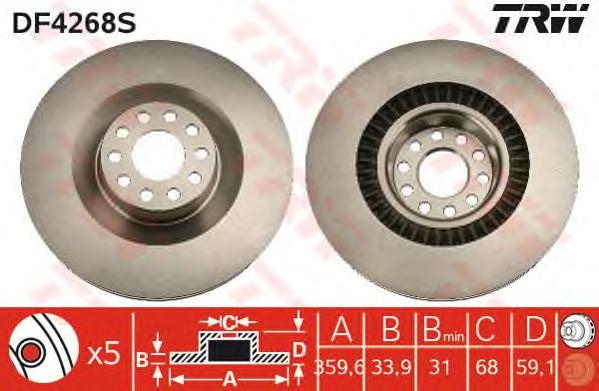 DF4268S Диск тормозной AUDI A8 3.0-6.0 02-10/VW PHAETON 3.0-4.2 02- передний D=360мм.