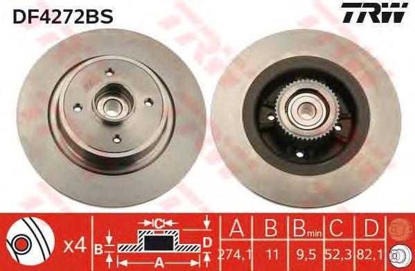 DF4272BS Диск тормозной RENAULT MEGANE I/SCENIC I 97-03 задний с подшипником