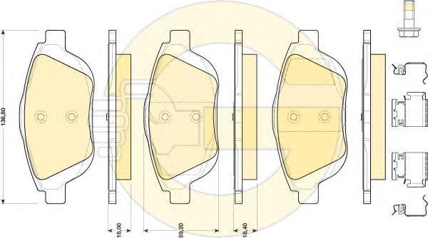 6118194 Колодки тормозные CITROEN C3 1.6 09-/DS3 1.6 10- передние