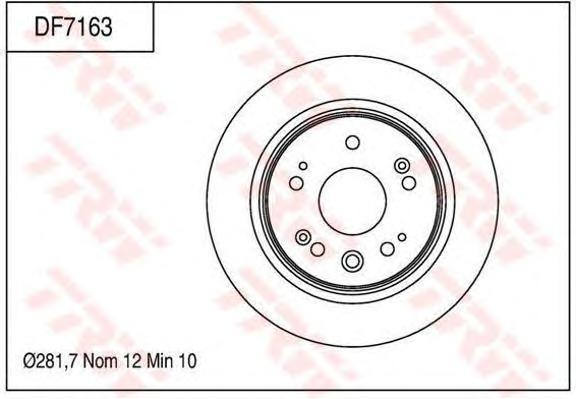 DF7163 Диск тормозной задн HONDA: EDIX вэн (BE_) 04-06 , FR-V (BE) 05-, STREAM (RN) 01-