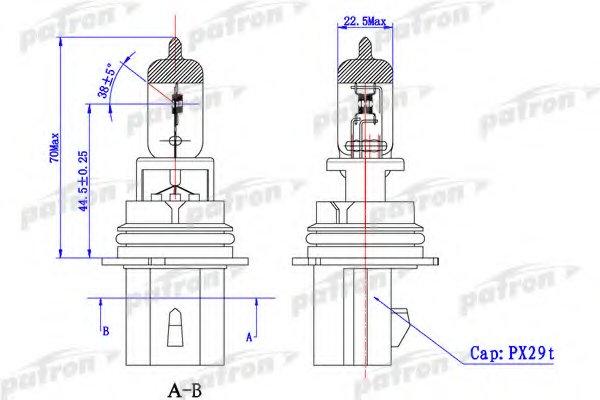 PLHB56555 Лампа галогенная HB5 12,8V 65/55 PX29t