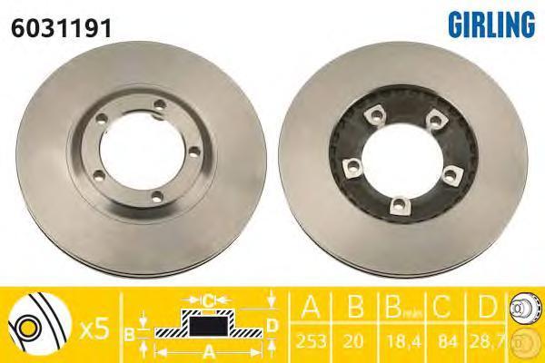 6031191 Диск тормозной HYUNDAI H1/H100/PORTER передний вент.D=253мм.