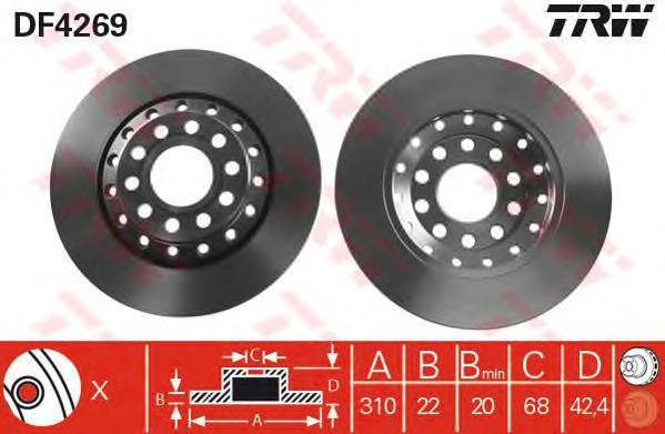 DF4269 Диск тормозной AUDI A8/VOLKSWAGEN PHAETON 3.0-6.0 02- задний D=310мм
