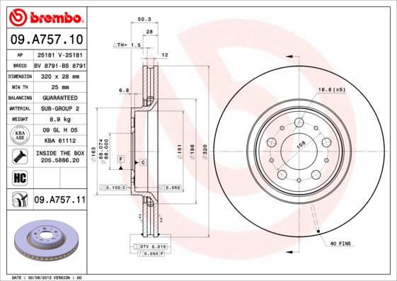 09A75711 Диск тормозной VOLVO S60 01-/S80 98-06/V70/XC70 01- передний вент.D=320мм.