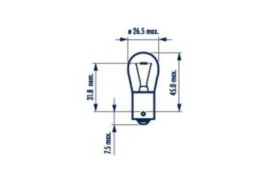 17644 Лампа 24V P21W одноконтактная Heavy Duty NARVA