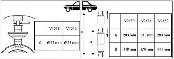V2132 Амортизатор PEUGEOT BOXER/CITROEN JUMPER/FIAT DUCATO зад.газ. 06- L-444mm