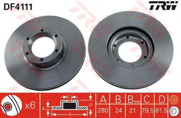 DF4111 Диск тормозной OPEL MOVANO/PENAULT MASTER 98- передний вент.D=280мм.