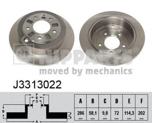 J3313022 Диск тормозной MAZDA XEDOS 9 2.0-2.5 93-02 задний D=286мм.