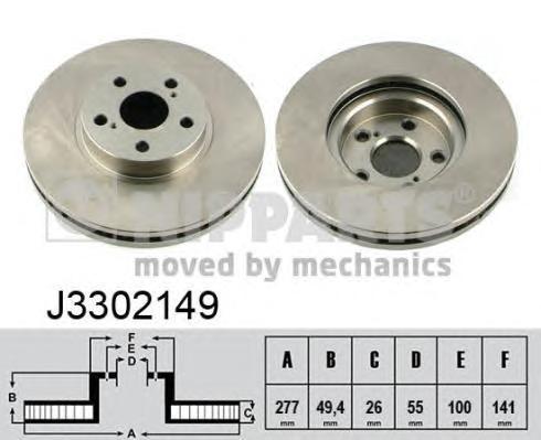 J3302149 Диск тормозной TOYOTA AVENSIS 1.6-2.4 03- передний вент.