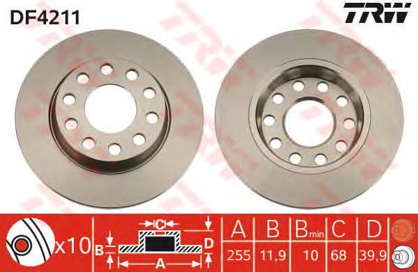 DF4211 Диск тормозной AUDI A4 1.6-3.0 00-/VW PASSAT 4motion 96-05 задний D=255мм.