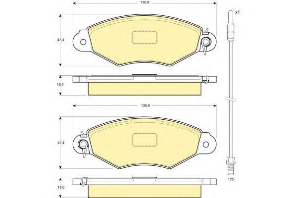 6114024 Колодки тормозные NISSAN KUBISTAR 03-/RENAULT KANGOO 97- передние с датч.