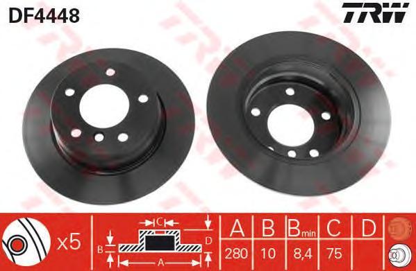 DF4448 Диск тормозной BMW 1 E81/E87 1.6/2.0 04- задний D=280мм