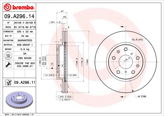 09A29614 Диск тормозной SUZUKI SX4 06- передний вент.D=280мм.