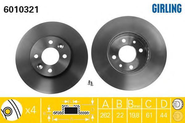 6010321 Диск тормозной RENAULT LAGUNA 1.8-2.2 93-01/MEGANE 1.8-2.2 96-01 передний вент.