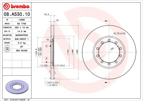 08A53010 Диск тормозной FORD TRANSIT 2.4D/3.2D 06- задний