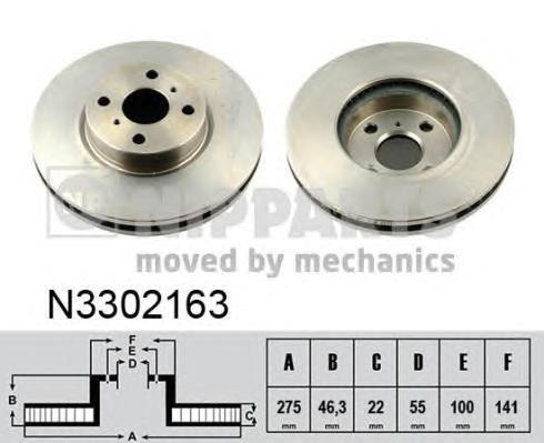 N3302163 Диск тормозной TOYOTA YARIS 06- с АБС (пр-во Япония) передний вент.D=275мм.