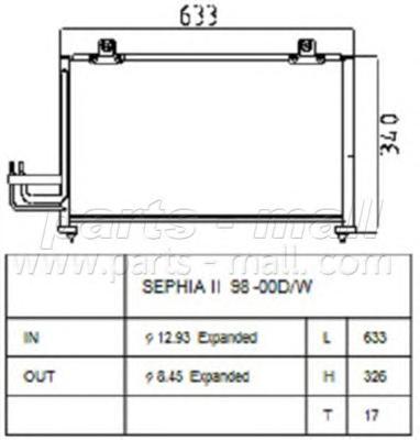 PXNCB025 Конденсер KIA SPECTRA/SHUMA 1.5/1.6 96-/07-