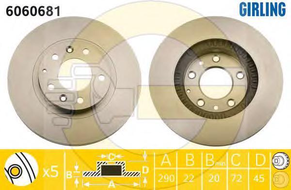 6060681 Диск тормозной MADA MX-5 05- передний вент.D=290мм.
