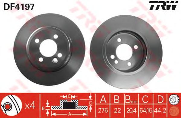 DF4197 Диск тормозной MINI COOPER/COOPER S/ONE 1.4-1.6 01- передний вент.D=276мм.
