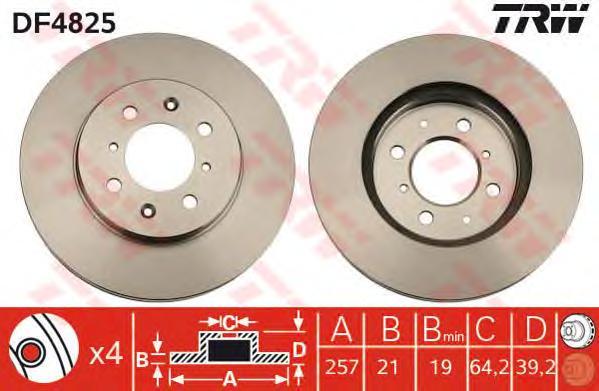 DF4825 Диск тормозной HONDA JAZZ 1.2-1.4 04- передний D=258мм.