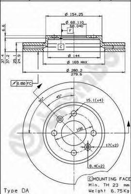 09522110 Диск тормозной SAAB 9000 84-98 передний вент.D=280мм.
