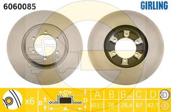 6060085 Диск тормозной HYUNDAI TERRACAN 01- передний вент.D=303мм