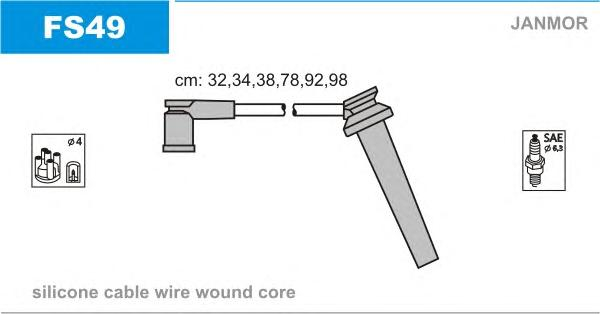 FS49 Комплект проводов зажигания FORD: MONDEO lll 2.5 V6 00-
