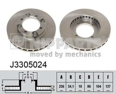 J3305024 Диск тормозной MITSUBISHI COLT 88-95/LANCER 88-94 передний вент.D=236мм.