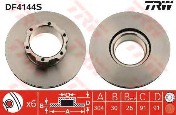 DF4144S Диск тормозной MERCEDES T2/LN1 86-94 передний вент.D=304мм.