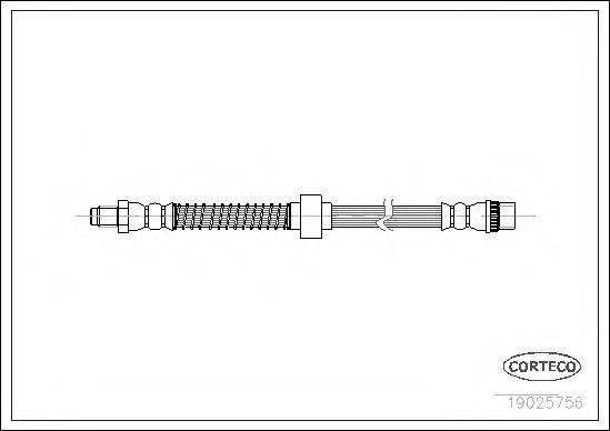 19025756 Шланг тормозной RENAULT: KANGOO 1.2/1.2 16V/1.4/1.5 dCi/1.5 dCi/1.5 dCi/1.6/1.6 16V/1.6 16V 4x4/1.6 16V bivalent/1.9 dC