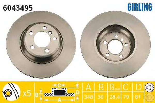 6043495 Диск тормозной BMW E65/E66 730-760 01- передний D=348мм.