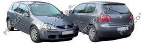 VW0362134 Решетка переднего бампера, левая (для а/м с противот. фарами), 4 полоски / VW Golf-V 11/03~