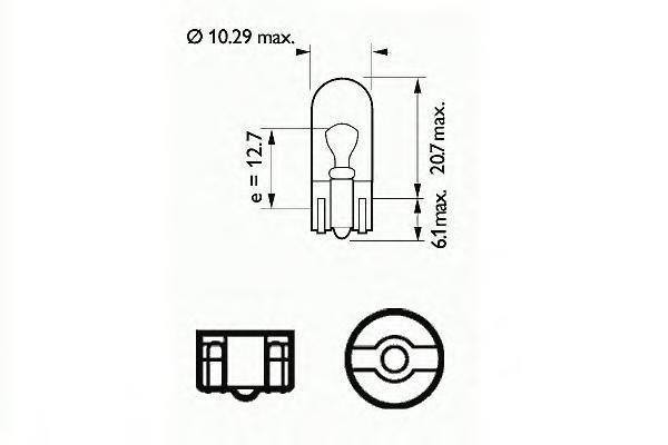 202112 Лампочка W5W (5) W2,1x9,5d стеклянный цоколь