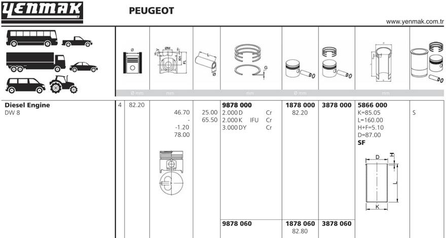 5866000 Гильза цилиндра PEUGEOT =82.2mm DW8