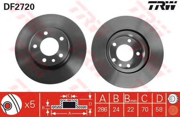 DF2720 Диск тормозной OPEL OMEGA B 2.0 94-00 передний D=286мм.