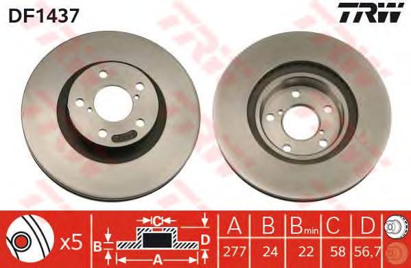 DF1437 Диск тормозной SUBARU FORESTER 97-/IMPREZA 94-/LEGACY 03- передний вент.
