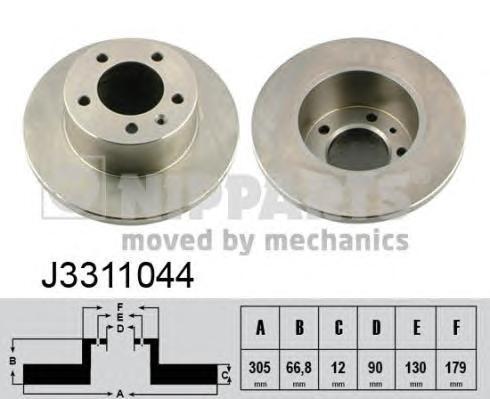 J3311044 Диск тормозной OPEL MOVANO 98-/RENAULT MASTER 98-/NISSAN INTERSTAR 02- задний