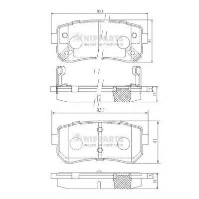 J3610512 Колодки тормозные KIA CEED/RIO/SPORTAGE/HYUNDAI ACCENT/i20/i30/ix35 задние