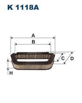 K1118A Фильтр салона AUDI A8 10/02- угольный