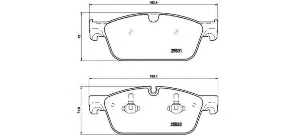 P50102 Колодки тормозные MERCEDES GL X166/ML W166 передние