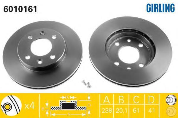 6010161 Диск тормозной NISSAN KUBISTAR/RENAULT CLIO 91-/KANGOO 97-/MEGANE 96-99 передний