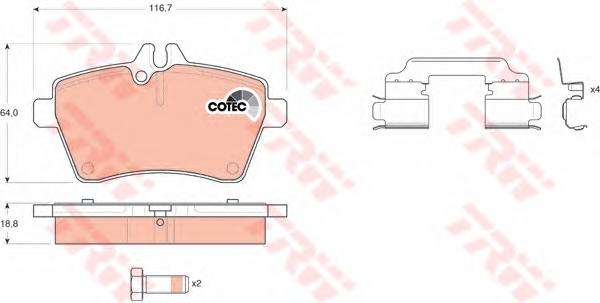 GDB1630 Колодки тормозные MERCEDES A-CLASS W169/B-CLASS W245 1.5-2.0 04- передние