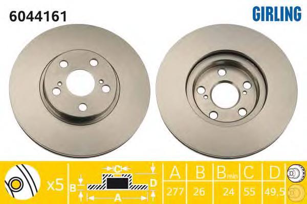 6044161 Диск тормозной TOYOTA AVENSIS 1.6-2.4 03- передний вент.