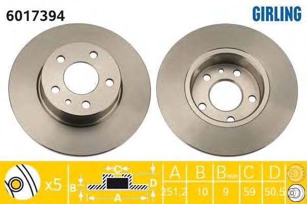 6017394 Диск тормозной ALFA ROMEO 147/156/164 задний