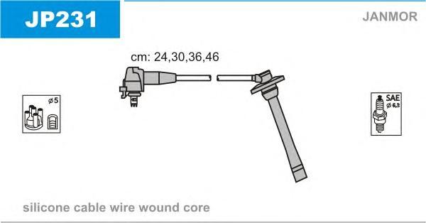 JP231 Комплект проводов зажигания TOYOTA: COROLLA 97-02, COROLLA Compact 97-02, COROLLA Liftback 97-02, COROLLA Wagon 97-02, COR