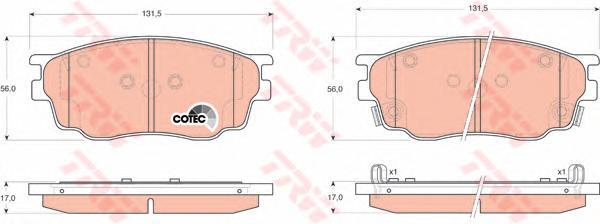 GDB3309 Колодки тормозные MAZDA 6 1.8 02- передние
